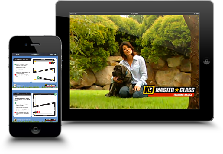 Previews of the K9 Master Class dog training APP on an iPhone and an iPad